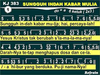 Lirik dan Not Kidung Jemaat 383 Sungguh Indah Kabar Mulia