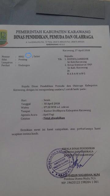 Heboh Surat Kadisdikpora Karawang Dinilai Tidak Sah,Pulangkan  Saja !!!