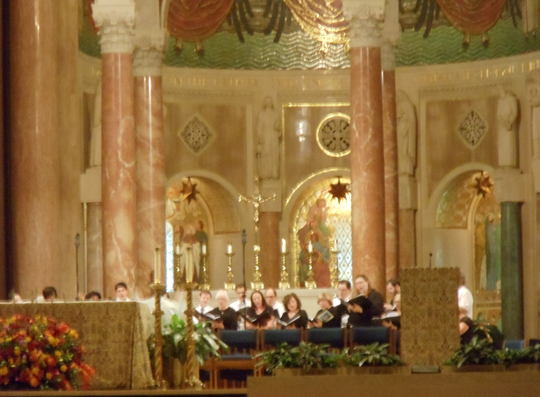 Choir singing at the Basilica
