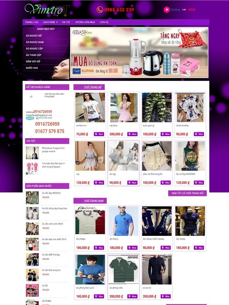 Template Blogspot Shop bán quần áo