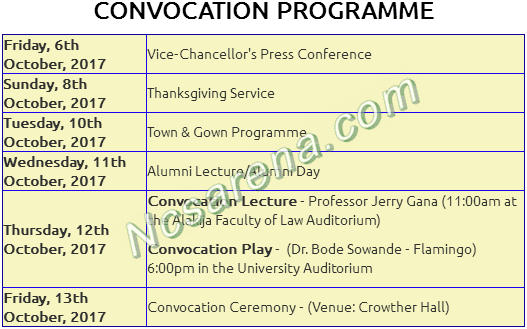 ACU Convocation Programme Of Events Schedule