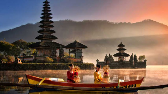 Ulun Danu Bratan Temple And Tourism Object of Beratan Lake Bedugul Bali