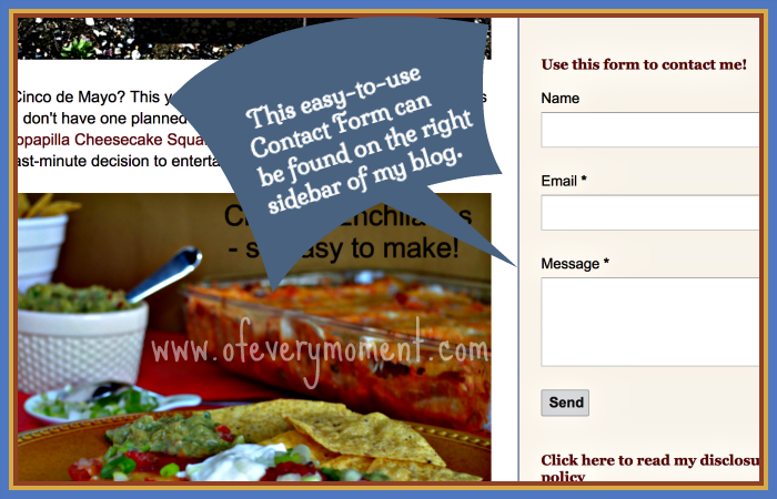 A contact form located on the right sidebar of blog