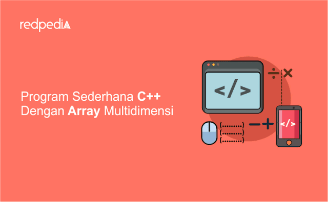 Program c++ array multidimensi input manual, total array, nilai terbesar terkecil array