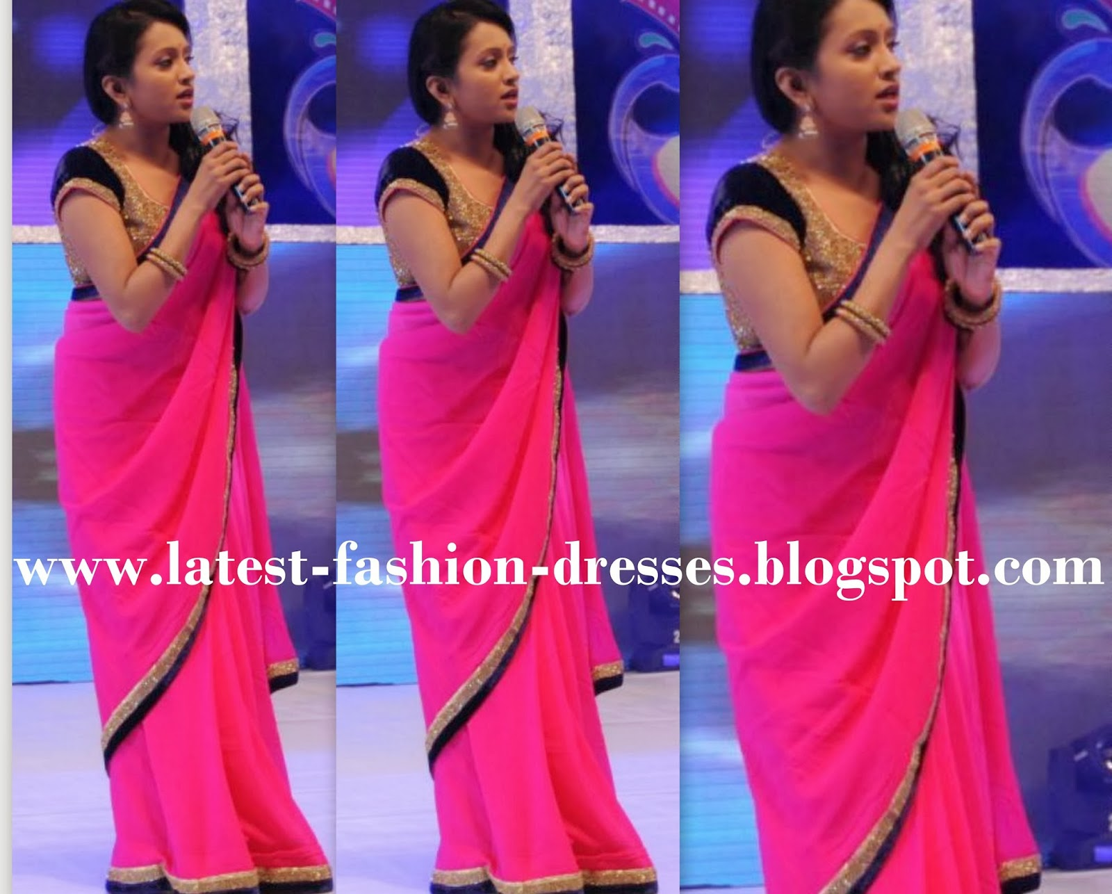 pink colour plain saree