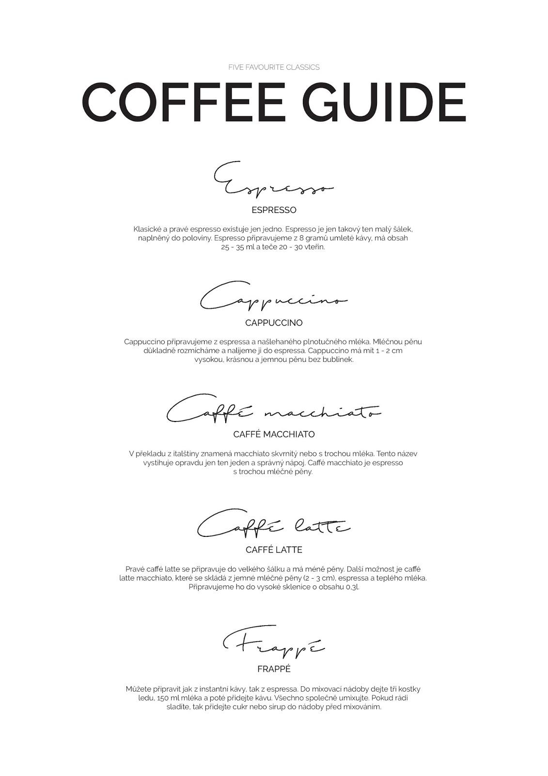 Coffe guide, příprava kávy, skandinávský design, coffee guide ke stažení, white interior