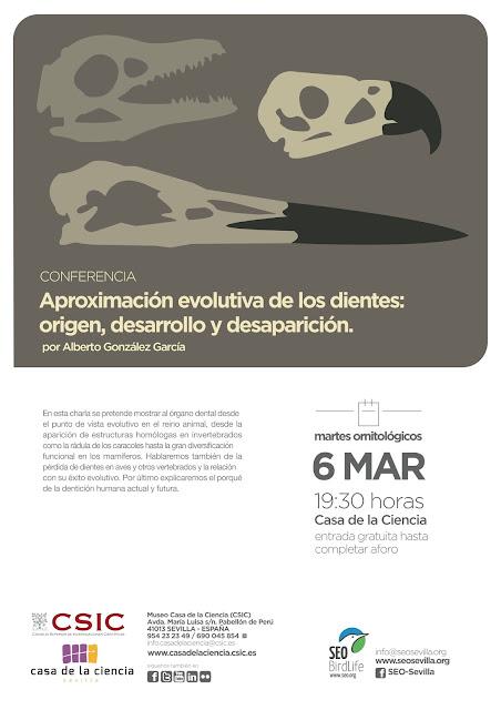 Conferencia: Aproximación evolutiva de los dientes: origen, desarrollo y desaparición. Por Alberto González García, 6 de Marzo 2018. Grupo Local SEO-Sevilla.