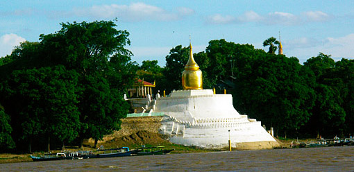 Bupaya stupa at the Irrawaddy Banks in Bagan