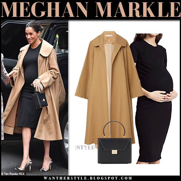 Meghan Markle in camel oversized oscar de la renta coat and black dress royal family winter style january 10