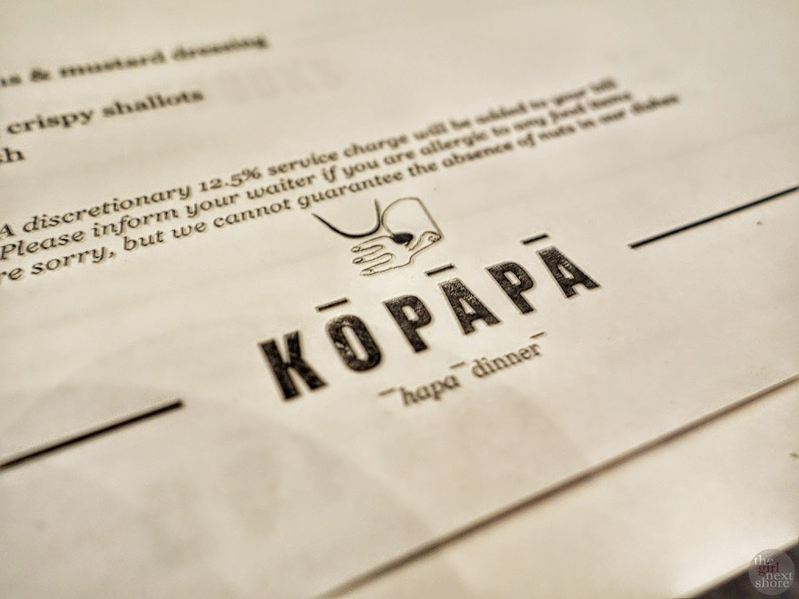Kopapa Dinner: where I had a thought about service charge
