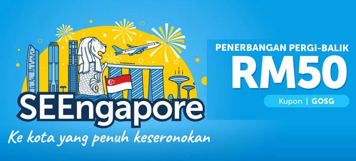 Diskaun Penerbangan Pergi-Balik Singapore Promosi SEEngapore Traveloka