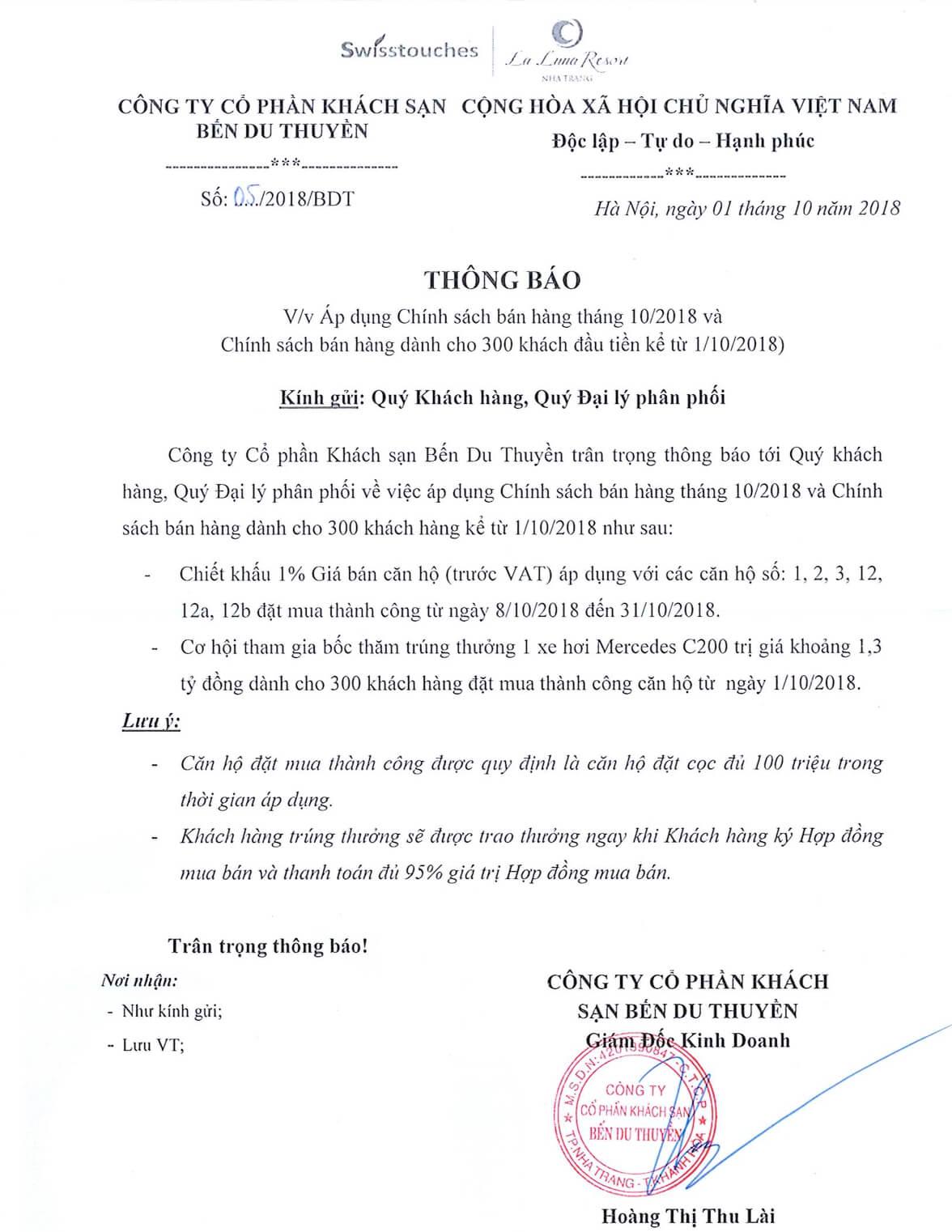 Cập nhật chính sách bán hàng La Luna Nha Trang tháng 10/2018