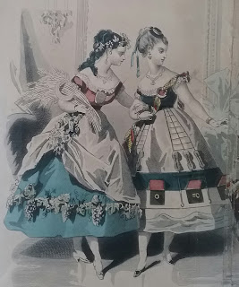 "Fashion plate excerpt: two women in late 1860s ""fancy dress"" as the harvest and a ship."