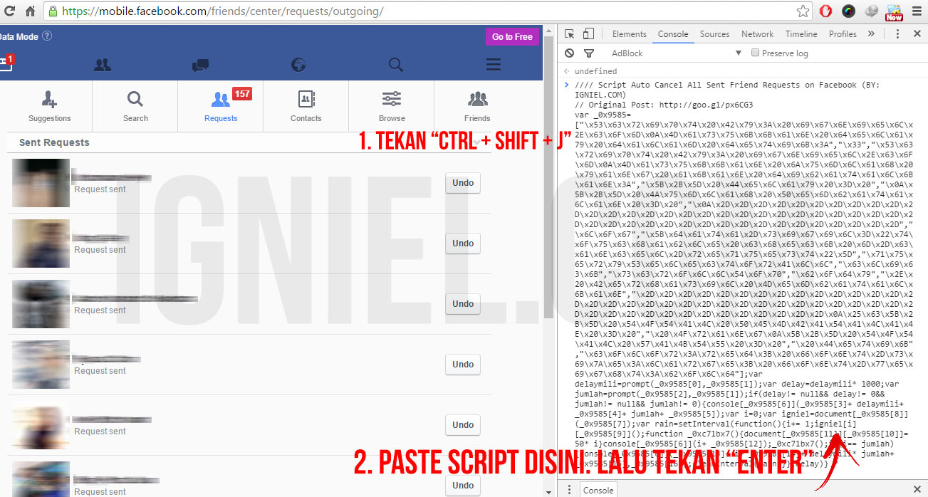 Script Auto Cancel All Sent Friend Requests Facebook. Tanpa Plugin. Tanpa Tool