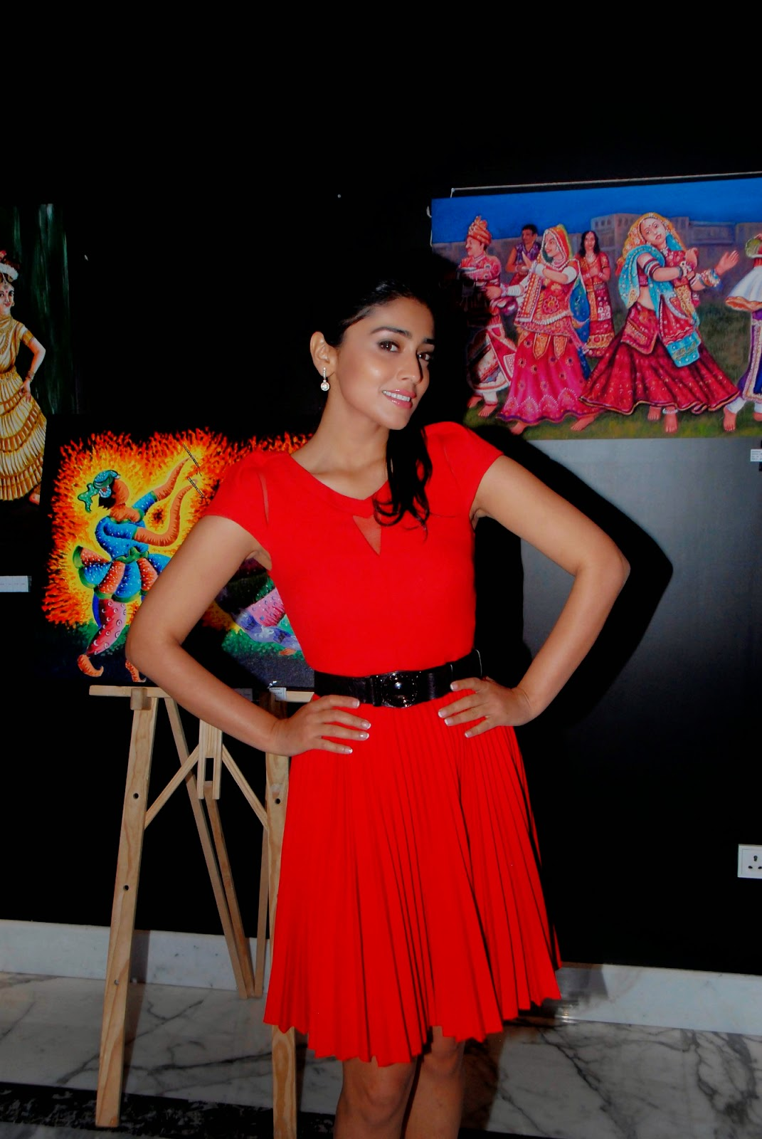 Shriya Saran Indian Mouth And Foot Painting Artists Event