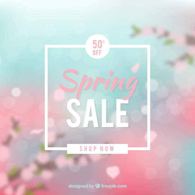 Blurred spring sale background Free Vector
