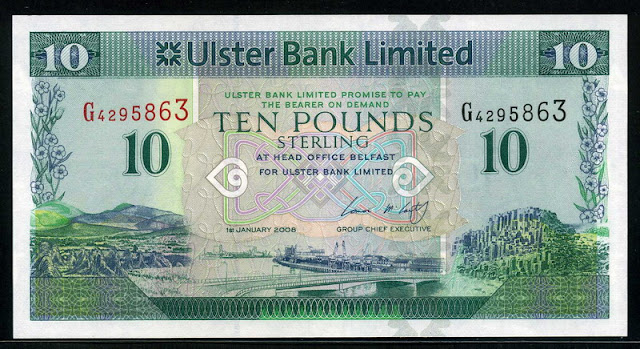 Banknotes of Northern Ireland Pounds Sterling Ulster Bank