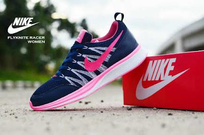 Sepatu Nike Free Flyknit Women Navy List Pink