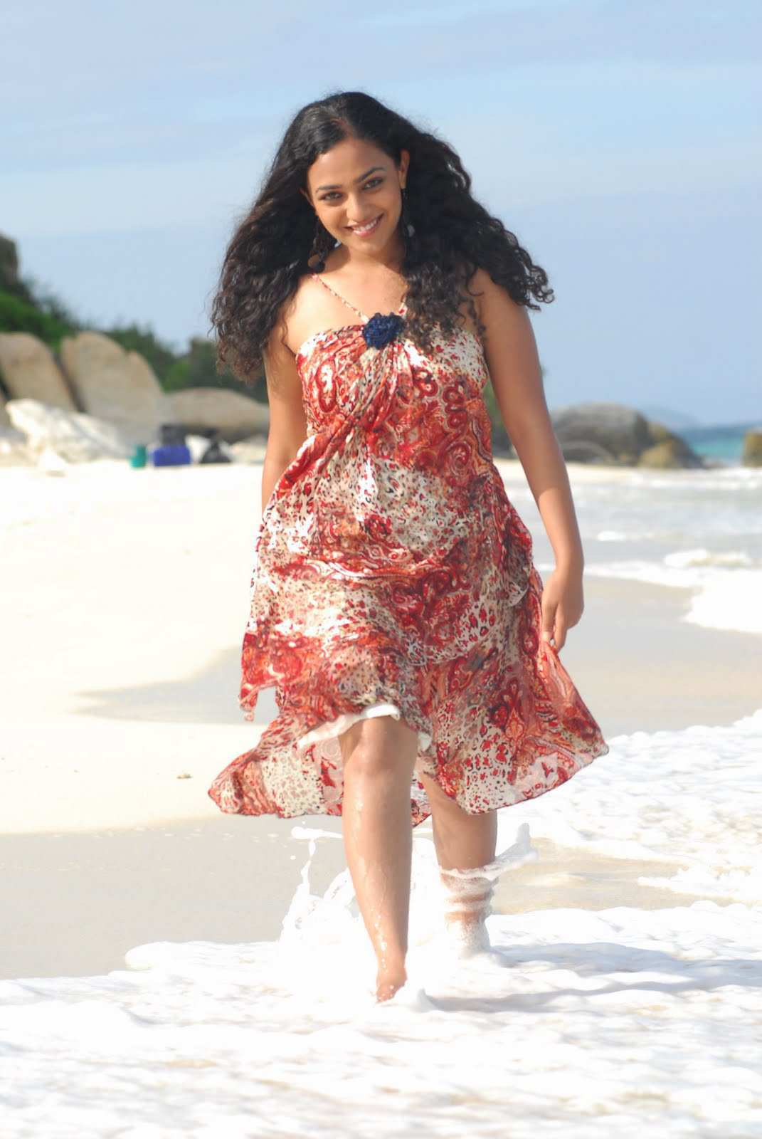 Kollywood Actress Nithya Menon Wet Hot Legs Show Photo shoot In Red Dress