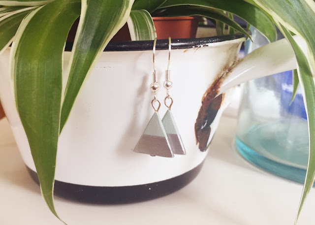 air-dry clay triangle earrings how to DIY