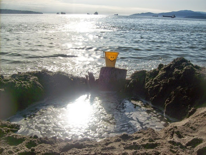 Stranded bucket at the shore of a bay
