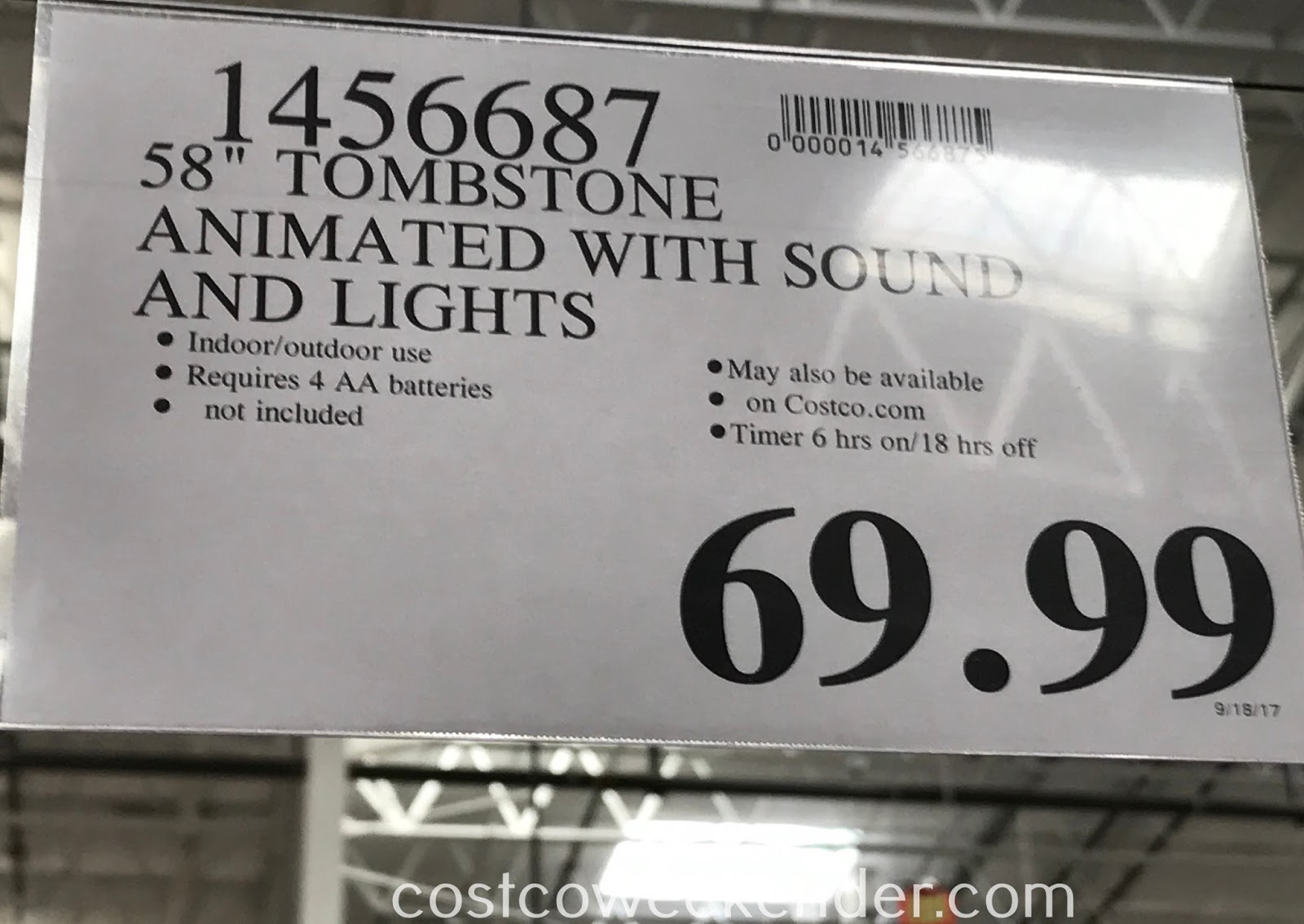 Costco 1456687 - Deal for the 58in Talking Tombstone with Lights and Sounds at Costco