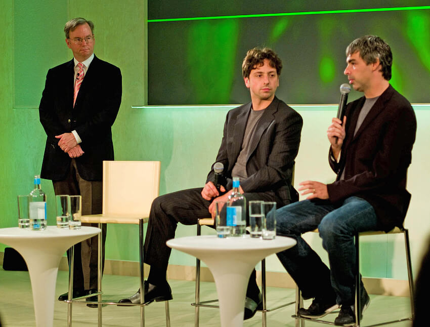 Eric Schmidt, Sergey Brin, and Larry Page Co-Founders of Google