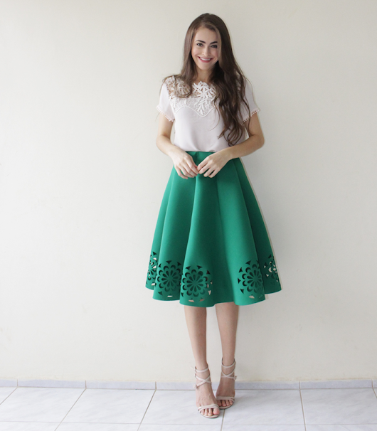 Look: Saia verde Sammy Dress