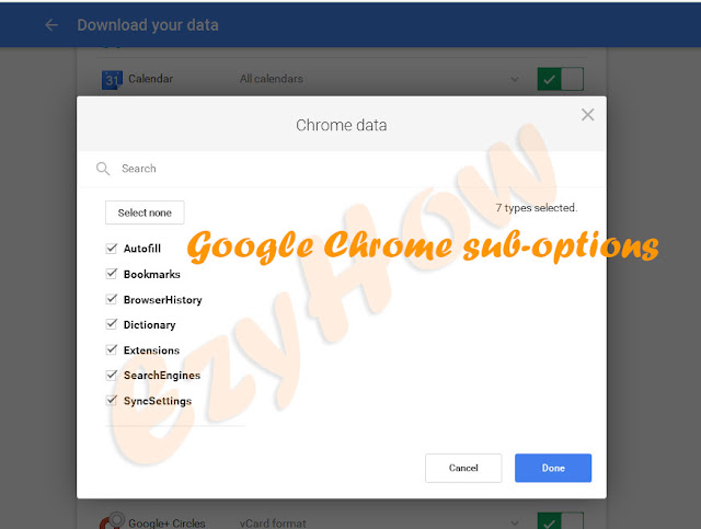 Sub-Options available in Google Product Chrome Browser