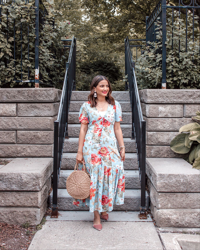 Chicwish blue red floral midi tea dress blogger outfit