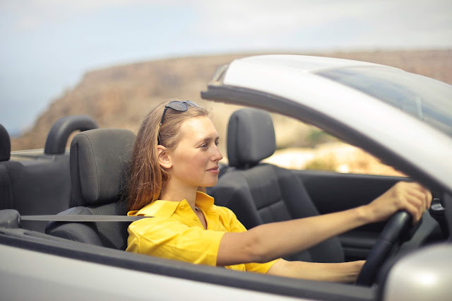 woman driving, summer, convertible