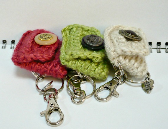5c2f79840 Crochet Mini Coin Pouches with Key Rings and Vintage Button Closure.  http://MelbaShoppe.etsy.com