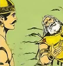 Bhishma advises Yudhistra with Pandavas and Krishna on his death bed of arrows_Shanti Parva-132