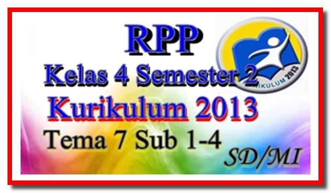 Download RPP Tema 7 Kelas 4 Semester 2 Kurikulum 2013 SD/MI