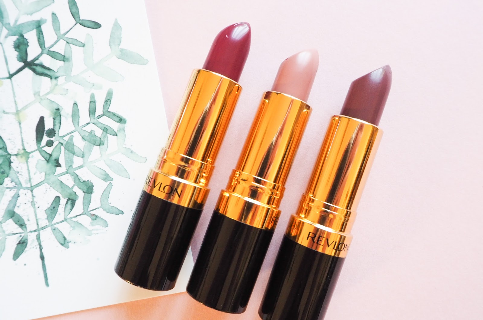 Revlon Super Lustrous Lipsticks in Bombshell Red, Bare Affair and Naughty Plum
