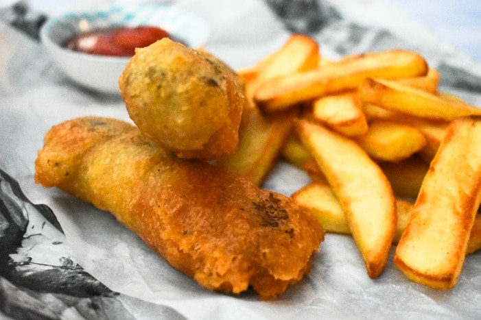 Beer Battered Vegan Sausages
