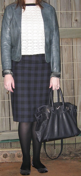 What Is Leather Made Of >> Away From Blue: Asos Leather Jacket, Crochet Top, Plaid ...