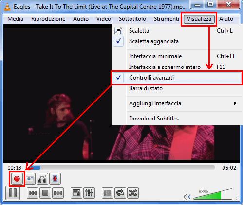VLC attivare controlli avanzati registrazione