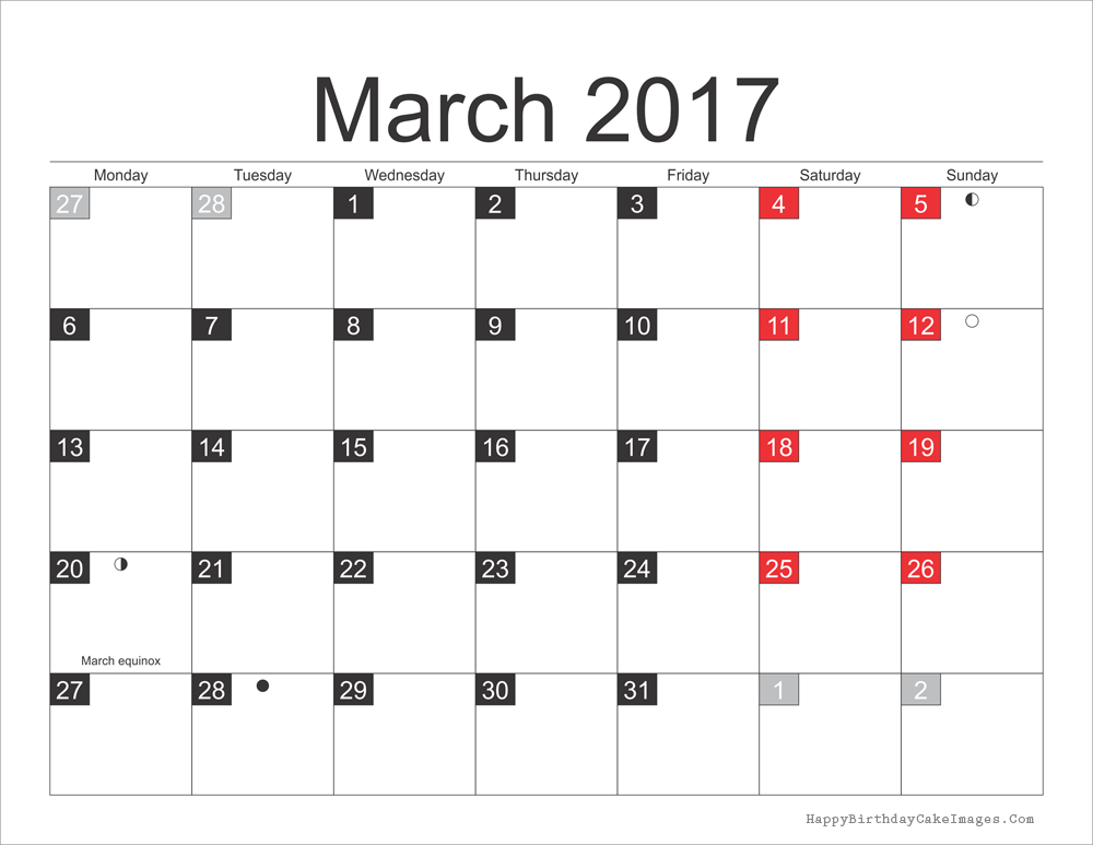 March 2017 Calendar USA