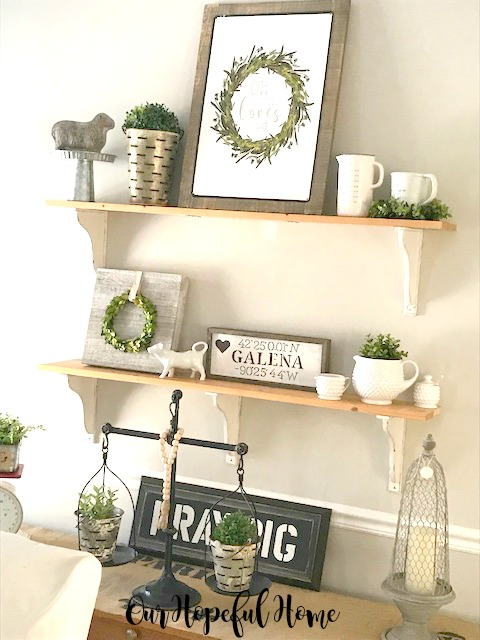 DIY farmhouse shelves boxwood wreath ironstone cow pitcher Galena sign