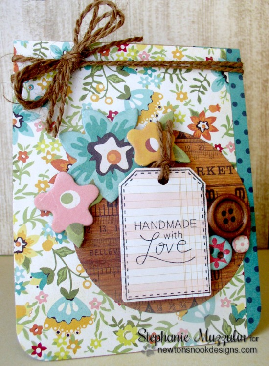 Handmade with Love Card by Stephanie Muzzulin | Tag Sampler stamp set by Newton's Nook Designs #newtonsnook