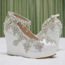 d1ade23dcfe7 Betsey Johnson Alisa ivory white wedding wedges crystal beaded details