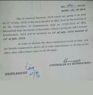 All Intermediate and Secondary Education Boards Will Announce Matric Result Will Be Announced on 21 July, 2018