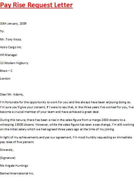 Pay Rise Request Letter Salary Increase Letter Template From - pay rise letter to employee