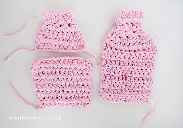 DIY zpagetti yarn crochet hot water bottle cover pieces - front and back