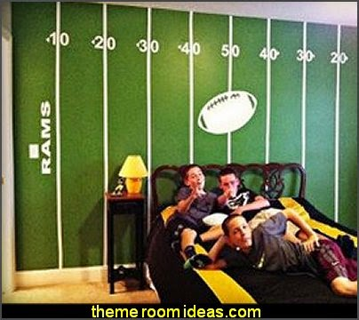 Football Field Wall Decal Kit  Sports Bedroom decorating ideas -  Wrestling theme bedroom decorating - boxing theme bedrooms - martial arts - skateboarding theme bedrooms  - football - baseball - basketball theme bedrooms - basketball bedding - golf theme bedrooms - hockey bedding - theme beds sports
