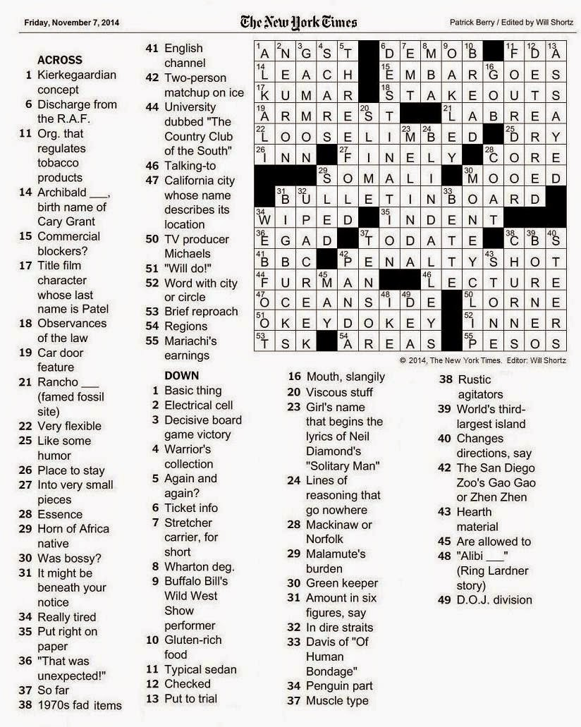 The New York Times Crossword in Gothic: 11.07.14 — Cul-de-sac