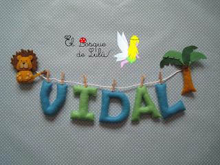 nombre-fieltro-Vidal-decoración-infantil-name-banner-elbosquedelulu-hechoamanoparati-personalizado-regalo-nacimiento