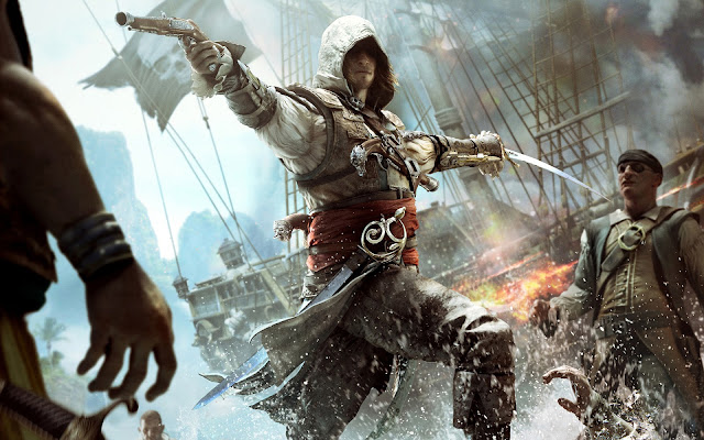 papel de parede assassins creed preto-bandeira larga wall paper hd