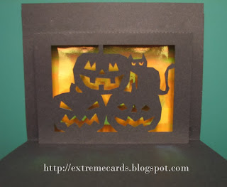 Halloween pumpkin black cat card